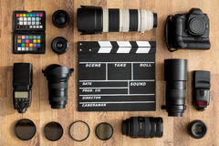 Professional of cameras and camera lens Royalty Free Stock Photography