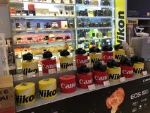 Nikon Canon Professional Cameras On Display Royalty Free Stock Photo
