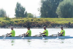 Professional canoe rowers Stock Images