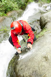 Professional Canyoning Guide At Work Stock Images