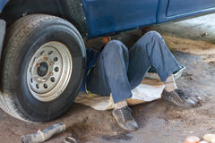 Professional car mechanic working  Royalty Free Stock Image