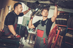 Professional car mechanics  working under lifted car in auto repair service. Professional car  mechanics  working under lifted car in auto repair service Stock Images