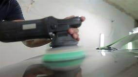 Professional car polishing process stock video