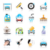 Professional car wash objects and icons Royalty Free Stock Photo