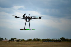 Professional carbon drone. With GPS making a ride stock photo