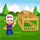 Professional carpenter cartoon. Illustration of professional carpenter cartoon Stock Image