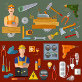 Professional carpenter and professional electrician royalty free illustration