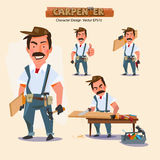 Professional carpenter in various action with typographic. caree Royalty Free Stock Photography