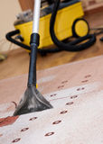 Professional carpet cleaning. With the use of special vacuum cleaner royalty free stock images