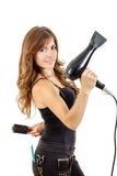 Professional caucasian brunette female hairdresser  Stock Photos