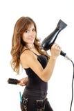 Professional caucasian brunette female hairdresser  Stock Photos