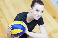 Professional Caucasian Volleyball Player Posing With Ball Stock Photos