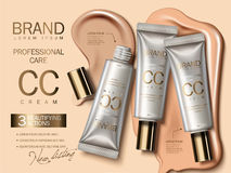 Professional CC cream ads. Foundation in plastic tube with liquid texture on the background in 3d illustration, attractive cosmetic ads Stock Photos