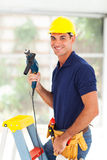 Professional cctv installer. Professional cctv system installer with tools Stock Image