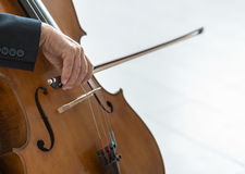 Professional cellist playing his instrument. Professional male cellist playing his cello, classical music solo performance stock image