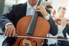 Professional cello player Royalty Free Stock Photography