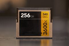 Cfast memory card. Professional Cfast memory card, 256GB Stock Images