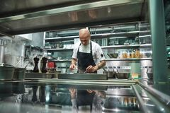 Professional chef. Famous young chef in black apron working at his modern restaurant kitchen. Cooking process stock image