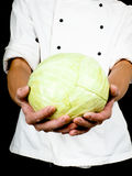 Professional chef holding a whole head of cabbage Stock Photo