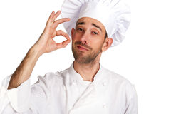 Professional chef man. Isolated over white background. Royalty Free Stock Photo