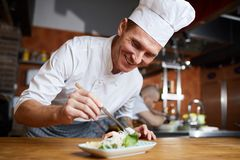 Professional Chef Plating Gourmet Dish. Portrait of professional chef plating Asian seafood dish in restaurant, copy space royalty free stock images