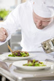 Professional chef prepare meat dish at restaurant Royalty Free Stock Photo