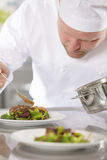 Professional chef prepare meat dish at restaurant. Focused chef adds gravy to a meat dish in a professional kitchen at gourmet restaurant or hotel Stock Photo