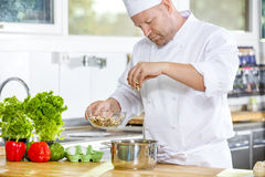 Professional chef preparing dish in large kitchen Stock Photo