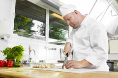 Professional chef preparing vegetables in large kitchen Stock Photos
