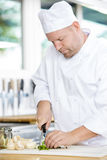 Professional chef preparing vegetables to a healthy dish Royalty Free Stock Photography