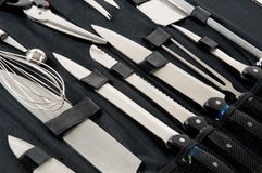 Professional Chef's knife set in black case Stock Image