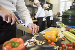 Professional chef at work. Chef chopping multicolored fresh vegetables royalty free stock photos