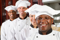Professional chefs. Happy group of professional chefs in commercial kitchen Stock Image