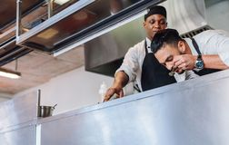 Professional chefs cooking delicious food. In restaurant kitchen. Chefs cooking food at commercial kitchen and smelling the aroma Stock Photos