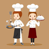 Professional Chefs With Foods In Hands Royalty Free Stock Photos