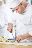 Professional chefs preparing vegetables in kitchen Stock Photos