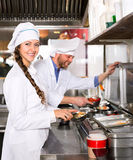 Professional chefs working at take-away Royalty Free Stock Photos