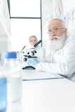 Professional chemists in white coats working with microscopes in laboratory. And looking at camera Royalty Free Stock Image