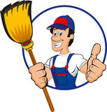Professional cleaner. Illustration of a professional cleaner. Isolated Royalty Free Stock Images