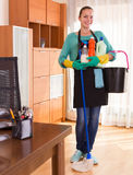Professional cleaner  cleaning the home Stock Photos