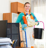 Professional cleaner  cleaning the office Royalty Free Stock Photography