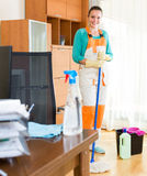 Professional cleaner  cleaning the office Stock Photos