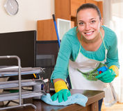 Professional cleaner  cleaning the office Stock Image