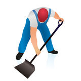 Professional cleaner with shovel. Professional cleaner with a black shovel vector illustration