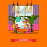 Professional cleaner vector illustration in flat style. Vector illustration of professional cleaner male with cleaning service trolley and house cleaning Royalty Free Stock Image