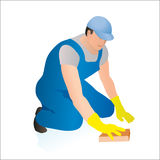 Professional cleaner wiping the floor. With a sponge royalty free illustration