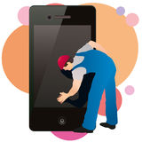 Professional cleaner wiping the screen. Of the phone with a sponge vector illustration