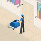 Professional cleaner at work isometric banner Royalty Free Stock Image