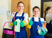 Professional cleaners with cleansers Royalty Free Stock Image