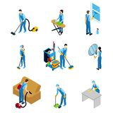Professional Cleaners Isometric Icons Set Stock Photo